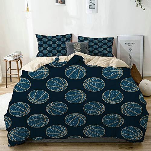 vhg8dweh 3D Digital Print Bedding Sets with 2 Pillow Shams,Beige,Arty basketball,3 Piece Duvet Cover Sets Single Size
