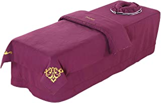 Premium Massage Table Sheet Sets with Face Rest Hole Fitted Table Skirt Luxury Face Cradle Spa Blanket 3 Piece-for Portable Adjustable Folding Massage Table Bed (Purple)