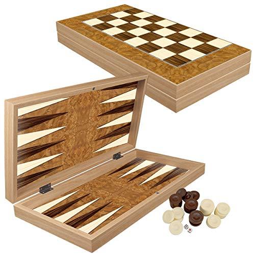 PrimoLiving Deluxe Holz Backgammon Set Bahamas im XXL Format 48x48,7 cm