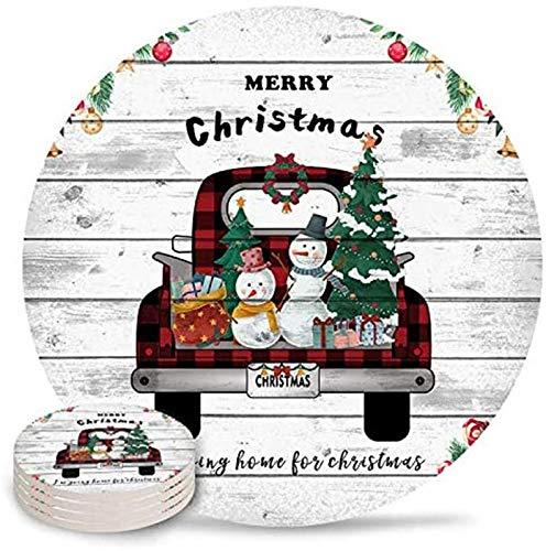 Posavasos de cerámica con piedra absorbente de Merry Christmas con parte trasera de corcho y sin soporte para tazas, juego de 4 piezas, madera rústica a cuadros rojos con árbol de Navidad