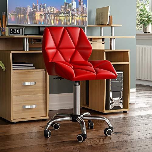 Vida Designs geo kontor datorstol, röd, spelsekreterare justerbar vridbara ben lyfter krom PU fuskläder H 80–96 x B 47,5 x D 49 cm