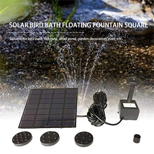 Pgige Conjunto de Bomba de Agua de Panel Solar de Forma Cuadrada de Moda Fuente de Piscina Estanque de jardín Conjunto de Tanque de baño de pájaro de riego Sumergible - Negro