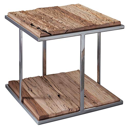 WOHNLING Design salontafel PRIYA 61 x 62 x 61 cm van gerecycled hout, massief houten frame met rustieke salontafel vierkant, houten tafel industriële stijl, designer koffietafel hoog