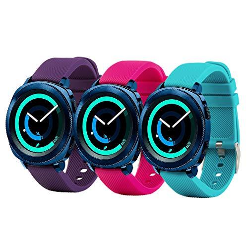 Molitececool Compatible Galaxy Watch Active/Active2 40mm 44mm Correa de Reloj 20mm Silicona Banda de Reemplazo Pulsera para Galaxy Watch 42mm/Gear Sport/Garmin Vivoactive 3
