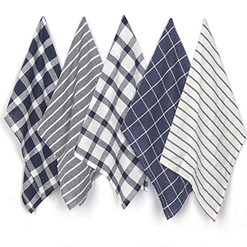 Jennice House Kitchen Towels, Dish Cloths Set Pure Cotton Tea Towels Ultra Absorbent Hand Towels Set of 5 in Large Size 20X28 Inches (Navy)