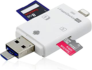 Leitor de cartão Micro SD 4 em 1, adaptador de leitor de câmera de cartão de memória para iPhone/Pad/Android/Mac/PC/MacBoo...