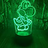 Mario Super Yoshi 3D LED Optical Illusion Bedroom Decoration Table Lamp with Remote Yoshi Island 7 Colors Change Dimmable Acrylic Visual Night Light Birthday Christmas Gift for Child,kids,Toddlers