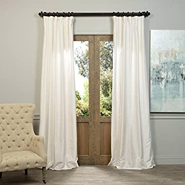 HPD HALF PRICE DRAPES Half Price Drapes PDCH-KBS2-108 Vintage Textured Faux Dupioni Silk Curtain, 50 x 108, Off White