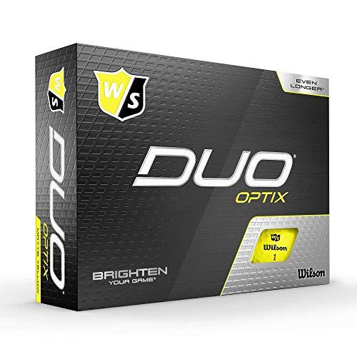 Wilson Staff Golfbälle, Duo Optix, 12 Bälle, Gelb, Matte Oberfläche, Einfache Auffindbarkeit, WGWP50200