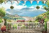 YongFoto 3x2m Vinilo Fondo de Fotografia Balcón Paisaje Playa Jardín Flores Montaña Mar Azul Naturaleza Telón de Fondo Boda Adulto Retrato Personal Estudio Fotográfico Accesorios