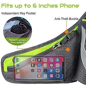CyberDyer Running Belt Hydration Waist Pack with Water Bottle Holder for Men Women Waist Pouch Fanny Bag Reflective Fits iPhone 6/7 Plus (Green)