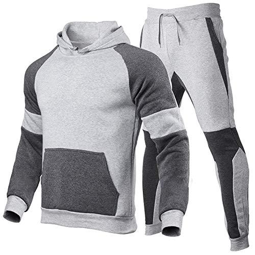 JX-PEP Conjunto de sudadera con capucha y pantalones para hombre – Fitness y gimnasio Track Suit Active Sport Stretch Slim Fit Top con Joggers, 3, S