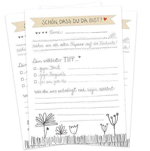 Hochzeitsspiel für Gäste, 52 Postkarten - Schön, dass du da bist - Spiel mit witzigen Fragen & zum Zeichnen, Recyclingpapier Partykarten & Postkartengruß, Weiß Grau Handlettering Design mit Blumen