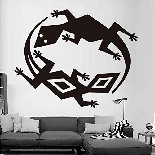 Muursticker twee verschillende hagedissen muurstickers PVC verwijderbare muursticker doe-het-zelf slaapkamer zelfklevend behang kunst ontwerp huisdecoratie 58 * 73Cm