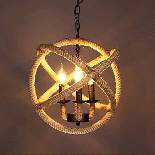 candelabro DBL Soportes de 3 Luces Estilo Retro Industrial Chandelier Hemp Cuerda Bola Metal Vela Suspensión Luz