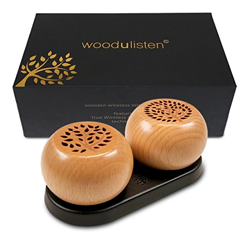 woodulisten Wooden Wireless Mini Bluetooth Speakers - Beautiful Natural Sound - Use 1 Pair 2 True Wireless Stereo (TWS) Technology, (Set of 2 pairable Speakers: 1 Tree & 1 Branch Design)