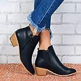 SQL Frauen-Glattleder-Seiten-Reißverschluss Ankle Boots Modische Klassische Chelsea-Stiefel mit niedrigem Absatz,Schwarz,36