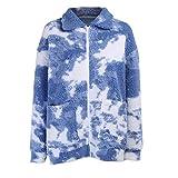 Hopereo Las señoras de invierno ropa de calle azul cielo y blanco impresión de nube abrigo de lana de peluche abrigo de imitación de lana peluda cálida chaqueta de señoras abrigo de mujer
