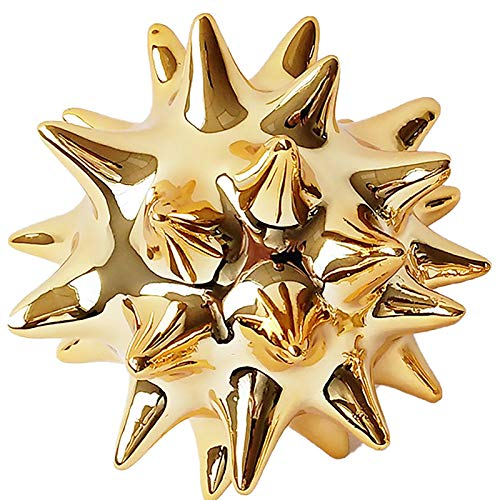 WACYDSD Sea Urchin Statues Home Decor Modern Style Gold Decorative Ornaments for Living Room, Bedroom, Office Desktop, Cabinets (Golden),17cm