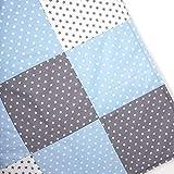 Sugarapple Patchwork Decke Stoffe Paket zum Nähen, Set Patchwork Stoffe für Baby und Kinder, im Mix hellblau und grau, aus Vier Baumwollstoffen und Vlies