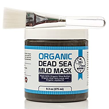 Dead Sea Mud Mask & Free Face Brush - HUGE Jar - Clears Acne - Anti-Aging - Exfoliate Skin - Moisturize - Aloe Vera Juice - Jojoba - Sunflower - Hickory Bark Extract - Calendula Oil - Shea Butter