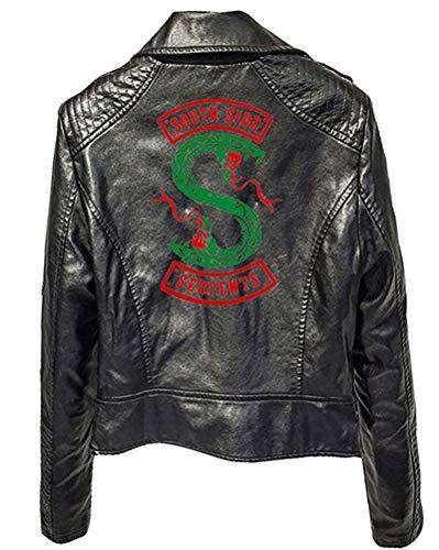 Yesgirl Riverdale Southside Serpents Jacke Damen Mode Lederjacke Coole Leder Pullover Frauen Slim Fit Sweatshirt Bauchfreier Pulli Kurz Crop Tops Oberteile Langarmshirts C Schwarz XX-Large