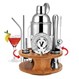HALOVIE Set Cocktail Professionale Completo 14 Pezzi Cocktail Shaker Set 750ml in Acciaio Inossidabile con Supporto Cannucce Tappo del Vino Kit Barman di Casa per Bar Drink Margarita Manhattan