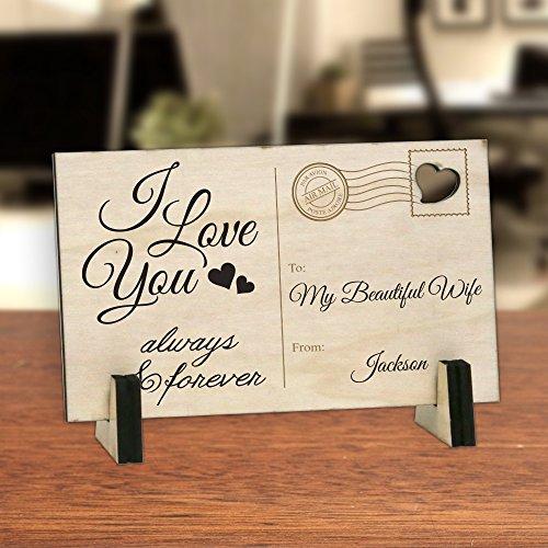 Personalisierte Direct Persönliche I Love You und Forever Holz Postkarte
