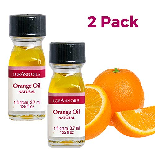 LorAnn Orange Oil Super Strength Natural Flavor, 1 dram bottle (.0125 fl oz - 3.7ml) - 2 Pack