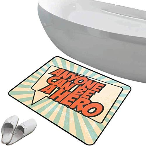 Alfombra de baño antideslizante Citar Área segura de alfombra de baño antideslizante suave Pop Art Style Speech Bubble Messaging Cualquiera puede ser un héroe,Sienna Beige quemado y azul pálido, Felpu