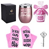 12 oz Stainless Steel Tumbler with Lid, Gift Box, Wine Tumbler Double Wall Vacuum Insulated Travel Tumbler Cup (Rose Gold- Not A Day Over Fabulous)