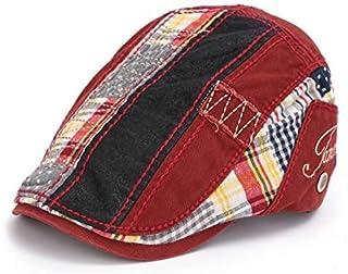 dDanke Unisex Beret Newsboy Hats Buckle Adjustable Cotton Patchwork Caps