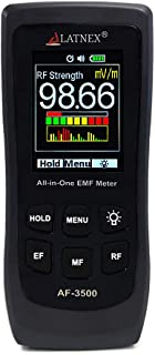 LATNEX AF-3500 EMF Meter RF Detector and Reader with Calibration Certificate - Measures RF and Microwaves, 3-Axis Gauss Magnetic Fields and Electrical Fields ELF