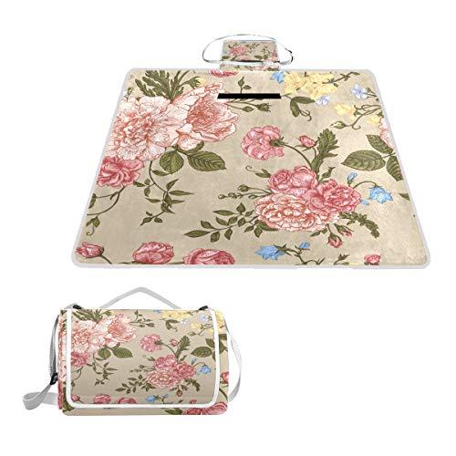 TIZORAX Picknickdecke, Vintage-Blumen, Blätter, wasserdicht, für den Außenbereich, faltbar, Picknick, praktische Matte für Strand, Camping, Wandern
