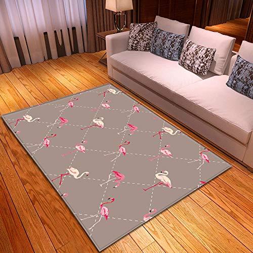 CQIIKJ Alfombra Estampada Flamenco Animal geométrico Rosa Blanco Gris Alfombra Antideslizante Alfombra Lavable 160 x 230 cm para la Entrada de casa, baño o Dormitorio Lavandería