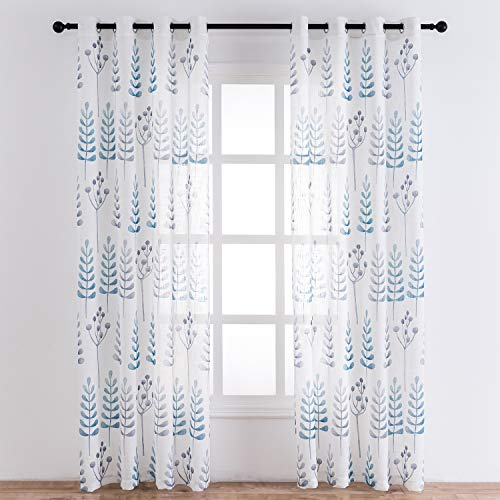 TERLYTEX White Linen Curtains 95 Inch Length - Elegant Ash Tree Branch Leaf Print Sheer Curtains for Living Room, Soft Faux Linen Textured Semi Sheer Grommet Curtains, 52x95 Inch, 2 Panels, Blue Grey