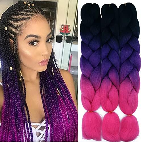 60cm Pelo Sintetico para Trenzas Africanas Extensiones de Cabello Jumbo Braids Crochet Braiding Hair Extensions 3PCS (Negro&Morado&Rosa rojo)