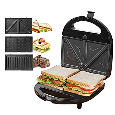 KotiCidsin Sandwich Maker, Waffle Maker, Sandwich Grill, 750-Watts, 3-in-1 Detachable Non-stick Coating, LED Indicator Lights, Cool Touch Handle, Anti-Skid Feet, Black (Black 1)