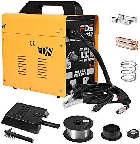 DREAMADE Saldatrice Elettronica Portatile Saldatrice ad Inverter per Elettrodo MIG 130 (Giallo)