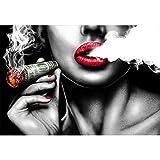 BFSA Rote Lippen Rauchen Sexy Vintage Wände Gemälde