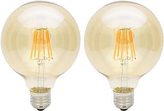 2X E27 Bombillas Edison LED 6W Bombilla Vintage G95 LED Retro Blanco Cálido 480LM Bombillas Filamento LED Sustitución del Incandescente 60W AC85-265V