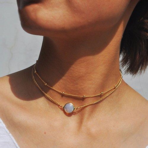 Colgante de piedra de ópalo simple, doble collar, accesorios de cadena ajustables para mujeres y niñas