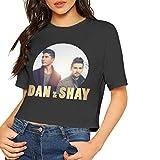 Dan+Shay Shirt Women's Crop Top Short Sleeve T-Shirt Crew Neck Blouse M Black