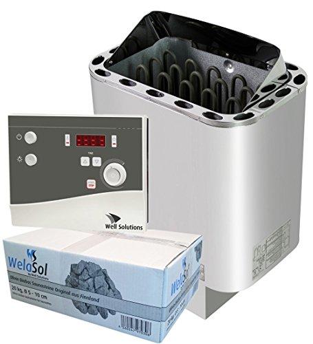 Well Solutions Saunaofen Edelstahl Next 9 kW/Externer Sauna Steuerung K4 mit 2 Fühler und Temperaturanzeige in Display/Original Marke Well Solutions