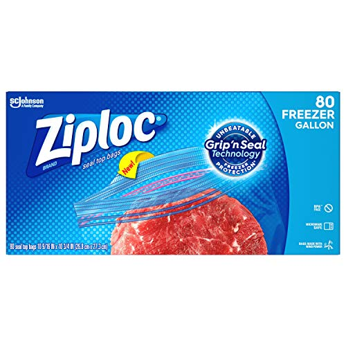 Ziploc Freezer Bags with New Grip 'n Seal Technology, Gallon, 80 Count