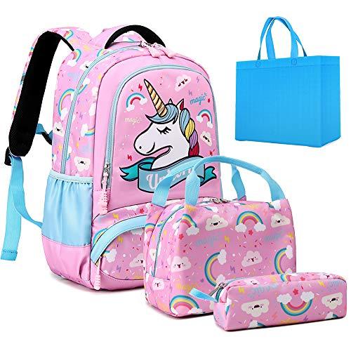 Teen Girls Backpack Set Kids School Bookbag with Lunch Tote Bag Pencil Case Cute Unicorn School Backpacks (P Pink)