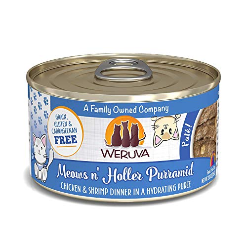 Weruva Classic Cat Paté, Meows n' Holler PurrAmid with Chicken & Shrimp, 3oz Can (Pack of 12)