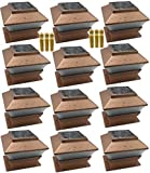 12 Pack Outdoor Garden Solar LED Copper Post Cap Fence Pathway Landscape Deck Square Light Lights + Free Bonus 12-Pack AA 600 mAH Replacement Rechargeable Batteries Bundle Deal
