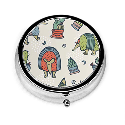 Pill Box Gürteltiere und Kaktus Runde Silber Pill Box Tasche