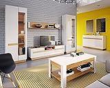 Wohnzimmerset Wohnwand VISIO Vitrine Tv Schrank Couchtisch Sideboard in MDF Hochglanz Weiß (ohne beleuchtunf)